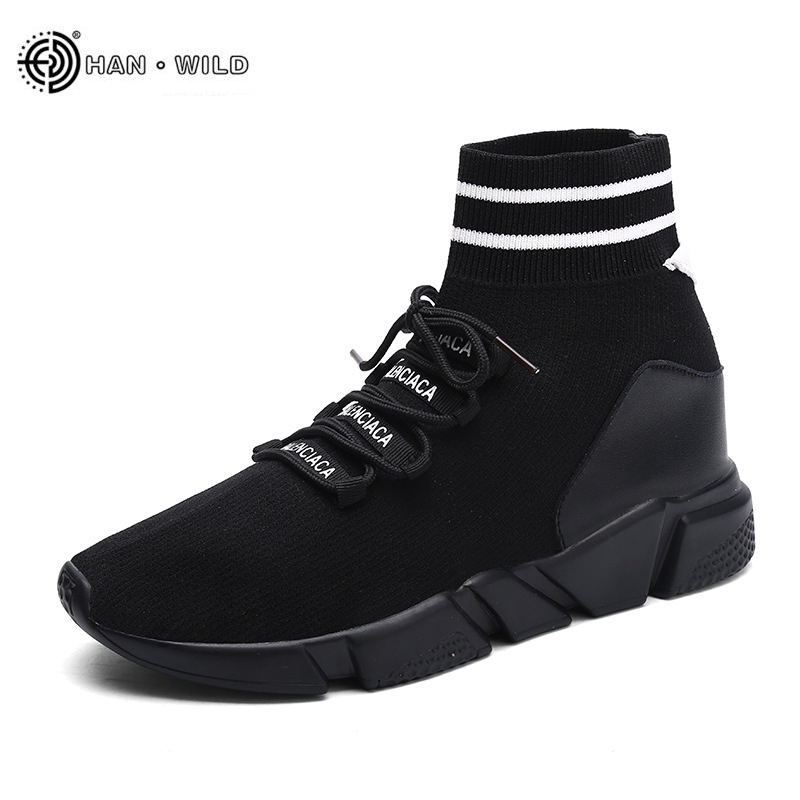 Fashion Casual Shoe For Men 2018 Weaving Fly Breathable Mesh Black Slipon Shoes Lover Couple Trainers Sneakers Mens Human Race