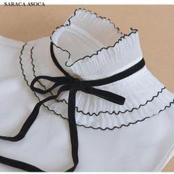 Мода шнуровкой стоя поддельные воротник Для женщин универсальные свитер съемным воротником для девочек A370