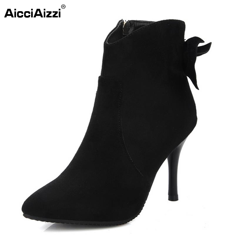Women Pointed Toe Ankle Boots Woman Sexy Thin Heel Shoes Female Elegant Bowknot Party Heels Footwear Heeled Shoes Size 34-43