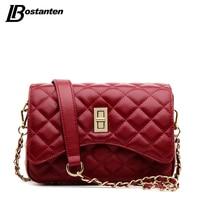 BOSTANTEN Famous Designer Purses And Handbags 2016 Genuine Leather Messenger Bag Lady Diamond Lattice Small Chain