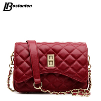 BOSTANTEN Famous Designer Purses And Handbags 2016 Genuine Leather Messenger Bag Lady Diamond Lattice Small Chain