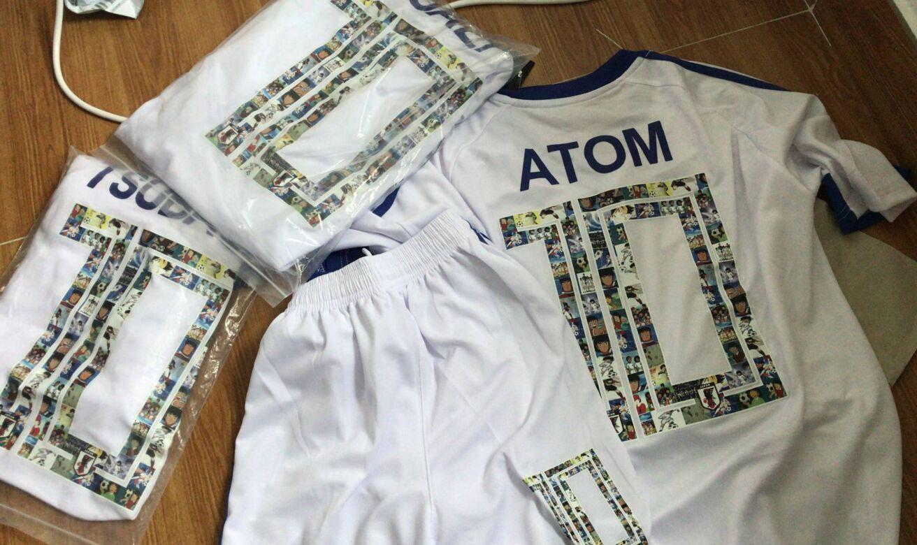 Enfants/hommes tailles, carton polices! Blanc Captain Tsubasa Maillots de football japonais, Oliver Atom Maillot de Foot Enfant Atton chemises