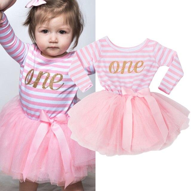 Mùa đông Bé Gái Rửa Tội Ăn Mặc Quần Áo Cho Trẻ Sơ Sinh Trẻ Sơ Sinh 1 2 3 Năm Sinh Nhật Đảng Dress Gift Dài Tay Áo Sọc bé Dresses