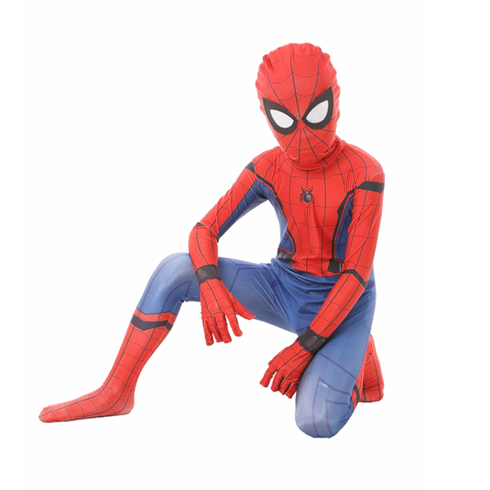 Homecoming Spiderman Costume Kids Child Amazing Spider Man Mask Costume Suit Boys Girls Spandex Red Purim Halloween Cosplay