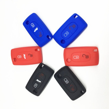 цена на 2 buttons Silicone Car Key Case For PEUGEOT 207 307 308 407 408 For Citroen C3 C4 C4L C5 C6 Quatre Protector Cover