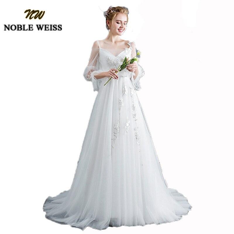 NOBLE WEISS Modest V neck Beach Wedding Dresses With 3 4 Long Sleeves Boho vestido de