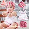 Одежда для новорожденных набор оригинальный мило младенческой девочка одежда наборы платье 3 шт. летние детские малыш бренд плед костюм для девочки