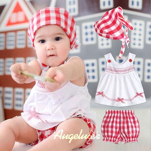 bc4e79775 Ropa de bebé conjunto original lindo infantil del bebé ropa de la muchacha  vestido de conjuntos 3 unids verano bebé niño a cuadros marca traje para  niña en ...