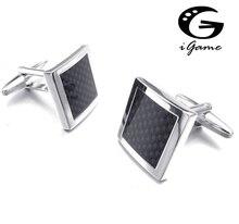 Free shipping Designer Cufflinks black color carbon fiber design hotsale copper material cufflinks whoelsale&retail
