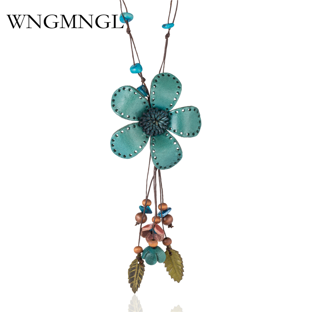 WNGMNGL Vintage Green Leather Flowers & Natural Stone Pendant Necklace for Women Girls Long Chain Boho Jewelry Gifts