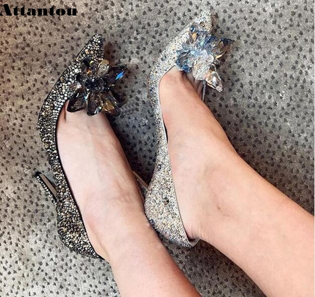 Black Crystal Cinderella High Heels Women Pumps Sexy Gladiator Thin Heels Women Rhinestone Slip On Party Shoes Size 33 to 41