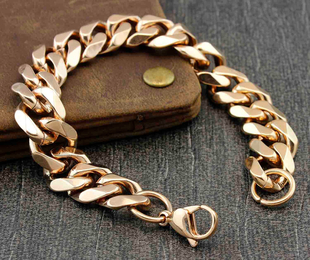Never Fade Rose Gold Chunky Stainless Steel Mens Cuban Link Chain Bracelet(china  (mainland