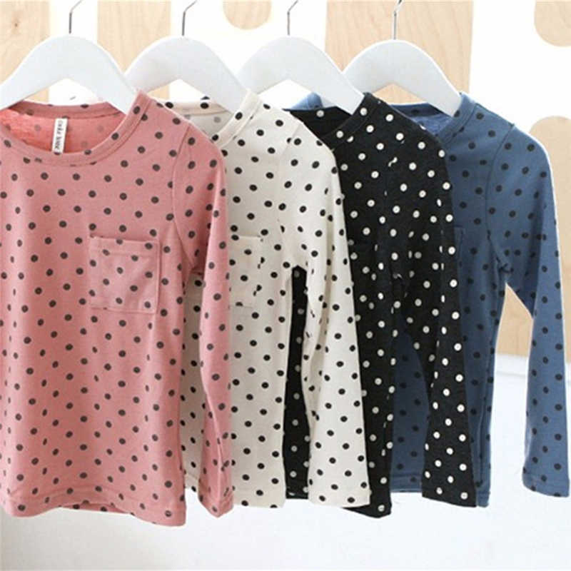 Koreaanse Baby Kids Meisje Leuk Casual Dots O Hals Lange Mouw T-shirt Tops Blouse Peuter Tee Shirt 2-7Year