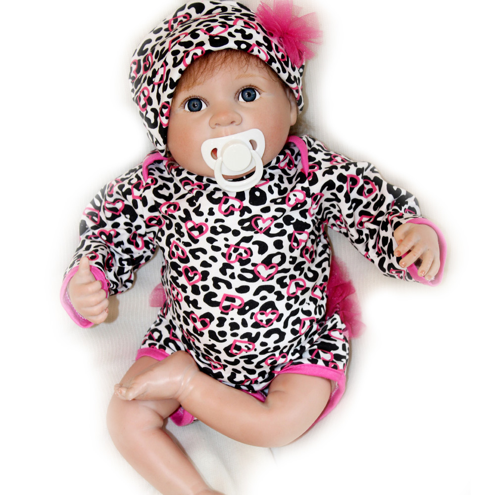 40-45CM Silicone Doll Reborn Baby girl realistic Handmade Cloth Body Reborn Babies Doll Toys Baby Growth Partners Best pink Gift partners cd