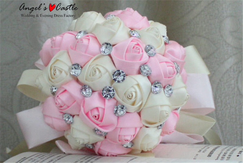 22 cm big wedding bouquets flowers white pink red rhinestone crystal 22 cm big wedding bouquets flowers white pink red rhinestone crystal shiny satin rose wedding bridesmaid bouquet white f004 in wedding bouquets from mightylinksfo
