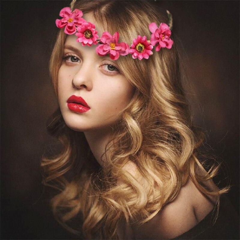 M MISM Cute Women Fairy Flowers Headband Elegant Sun Flowers Wedding Hair Accessories For Girls Bridal Flora Elastic Hair Band