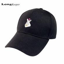 LongKeeper Caliente Mujeres Hombres Amor Gestos Dedo Flipper Bordar Gorras de Béisbol Calle Hip-Hop Sombrero 6 Dios Sombreros Negro Blanco Rosa