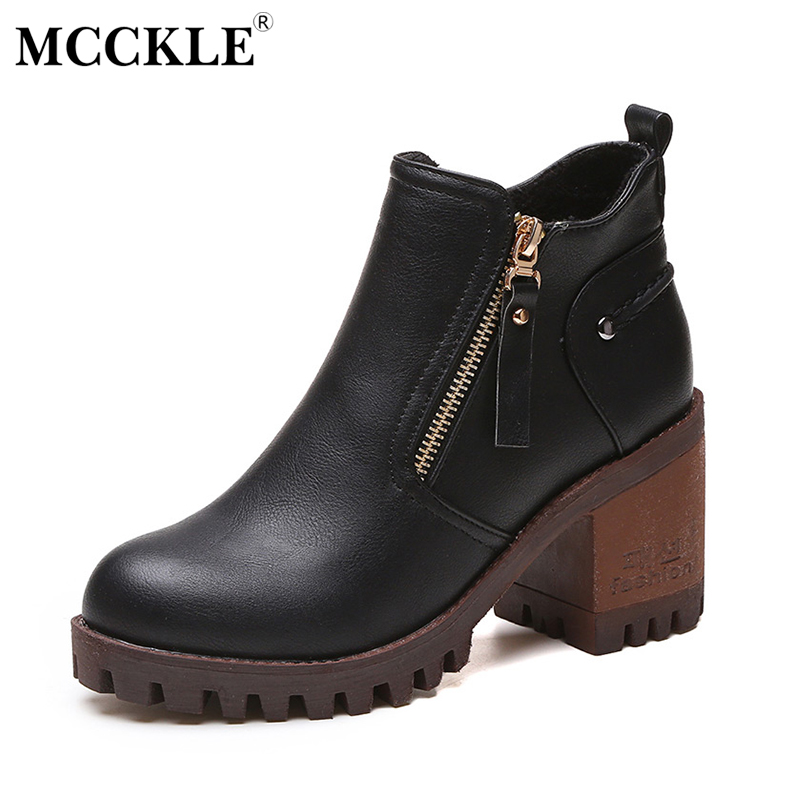 MCCKLE Female Slip On Fashion Zip Ankle Boots 2017 Women High Quality Leather Thick Heel Casual Solid Autumn Winter Shoes mcckle women s lace up rivets buckle ankle martin boots ladies fashion thick heel platform high quality leather autumn shoes