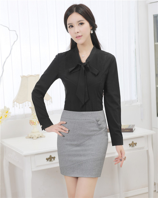 Novelty Black Slim Fashion 2015 Spring Autumn Women Work Suits With Blouse And Skirt Formal Uniforms Skirt Suits Office Sets