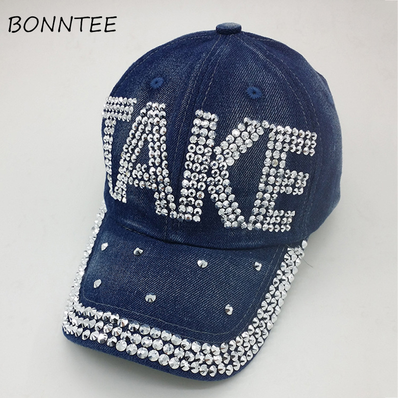 Baseball Caps Women Vintage Denim Sun Shade New Style Colorful Womens Trendy Outdoor Cap Adjustable Casual Rhinestones Sequins Distinctive For Its Traditional Properties