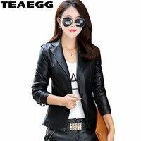 TEAEGG Black Pu Plus Size 4XL 5 XL Women's Leather Jacket Spring Autumn Coat 2019 Hot Selling Jaqueta De Couro Feminino AL759
