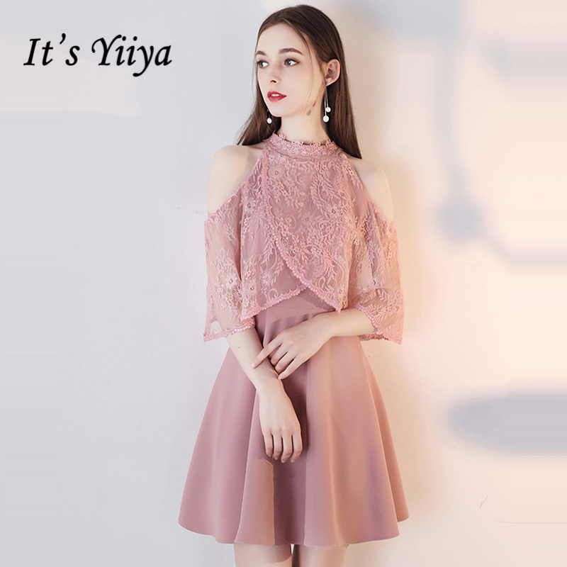 It's YiiYa   Cocktail     Dress   2018 Popular Party Bow Lace Flower Contrast Color Fashion Designer Elegant   Cocktail   Gowns LX1046