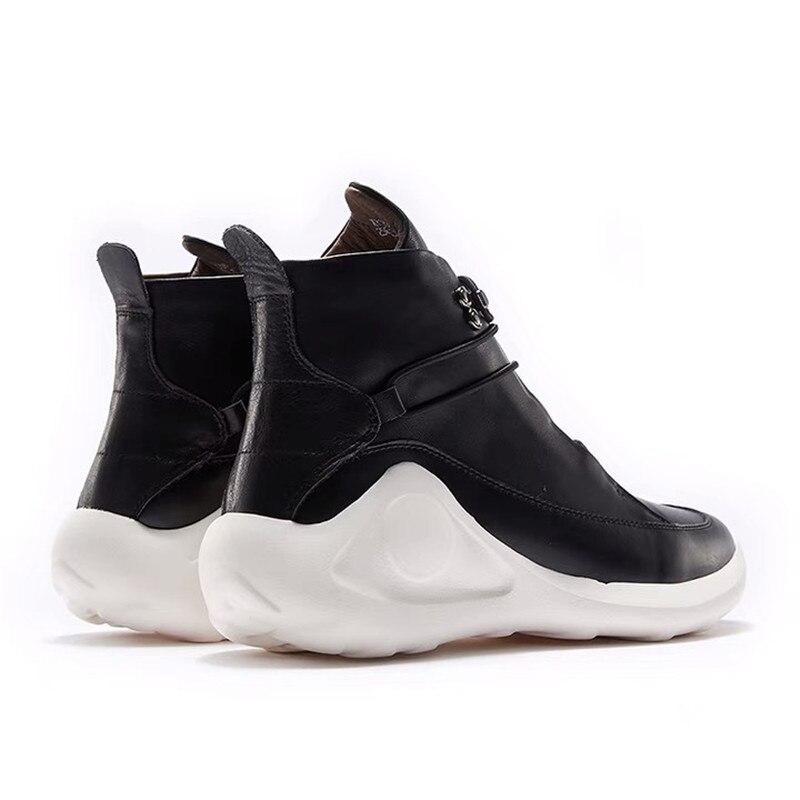 Delivr/черные мужские кроссовки унисекс; Вулканизированная обувь на толстой подошве; Masculino Adulto; Мужская обувь из натуральной кожи; формальная Мода 2019 года - 4