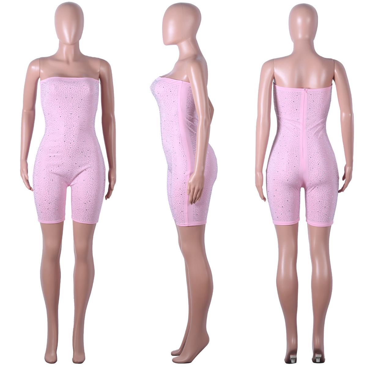 3a72efcd0f7e8 Tobinoone Pink Birthday Sequin Romper Strapless Tube Top Bike Shorts Sexy  Glitter Jumpsuit Clubwear Party Outfits for Women