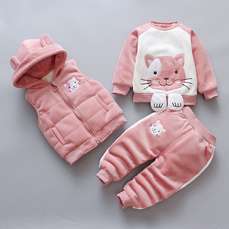 3pcs/set winter Children Clothing Sets cotton deer Christmas Snowsuit Thicken Warm Sweatshirt Suit for girls boy Kids Clothes