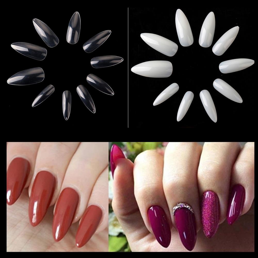 50 Packs Long Stiletto Nails 500Pcs Nail Art Tips Clear Natural False Fake Nails Tips Manicure