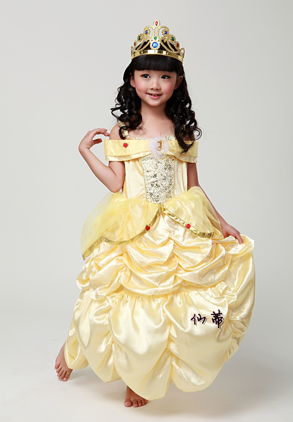 Cheap kid Children birthday party halloween carnival princess belle dress from Beauty and the Beast
