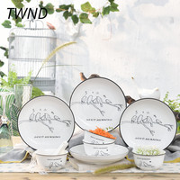 12 Pieces Korean cutlery set ceramic tableware creative dinnerware sets home party 45