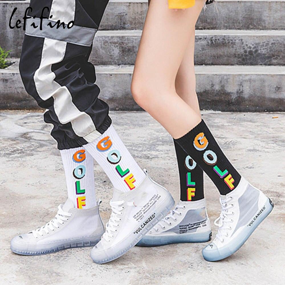 Fashion Street Men Socks Hip Hop Colorful Letter Golf White Black Socks Women Cross Casual Noah Crazy Funky Socks Novel Ne79930