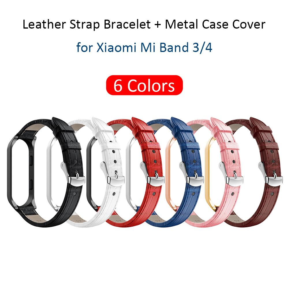 High Quality Crocodile Leather Strap Stainless Steel Frame Wristband For Xiaomi 3 4 2019 Newest Watch Bands For Mi Band 3 4 in Smart Accessories from Consumer Electronics