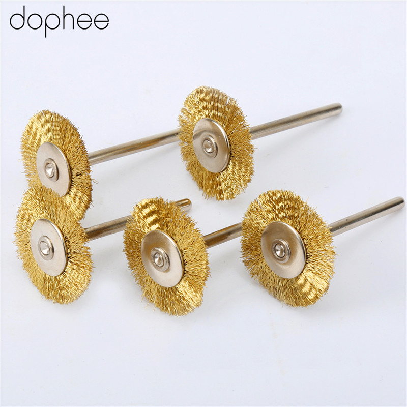 Dophee 5Pcs Copper Wire Dremel Accessories 25mm Wheel Diameter Brushes For Grinder Dremel Rotary Tool Accessory 3.17MM Shank