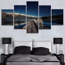 5 Piece HD Print Wooden Bridge Lake Starry Sky Cuadros Landscape Canvas Wall Art Home Decor For Living Room  Painting