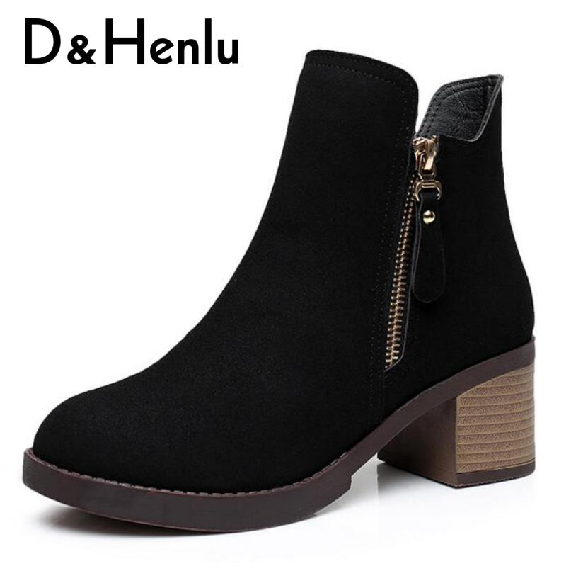 {D&Henlu} Plus Size Shoes 41 42 43 Autumn Winter Shoes Women Square Heel Boots 2018 Ankle Heel Boots Women Chunky Heel Zipper whitesun plus size boots women martin boots autumn winter shoes female ankle boots buckle retro style chunky heel short boots