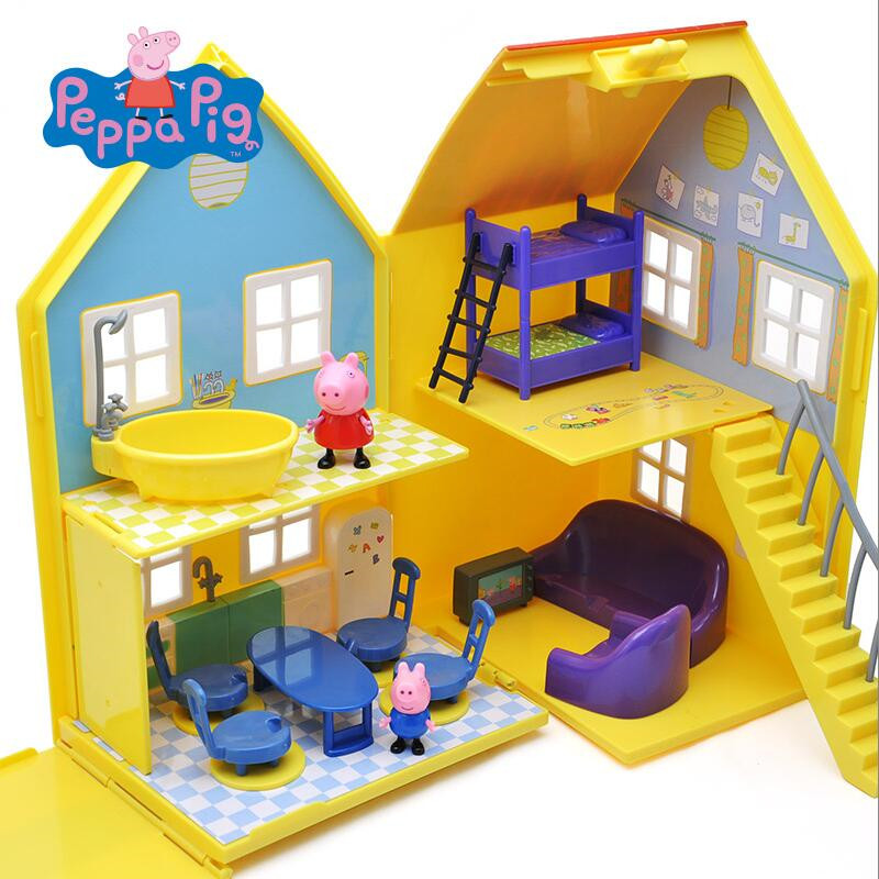 Pink pig Peppa Pig Toys Doll Real Scene Model Amusement park PVC Action Figures Family Member Early Learning Educational toys