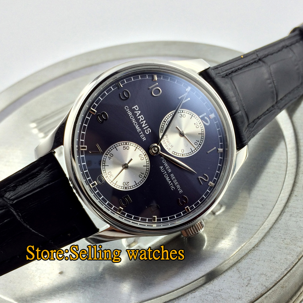 43mm parnis blue dial luxury power reserve automatic movement mens watch in mechanical watches for Auto movement watches