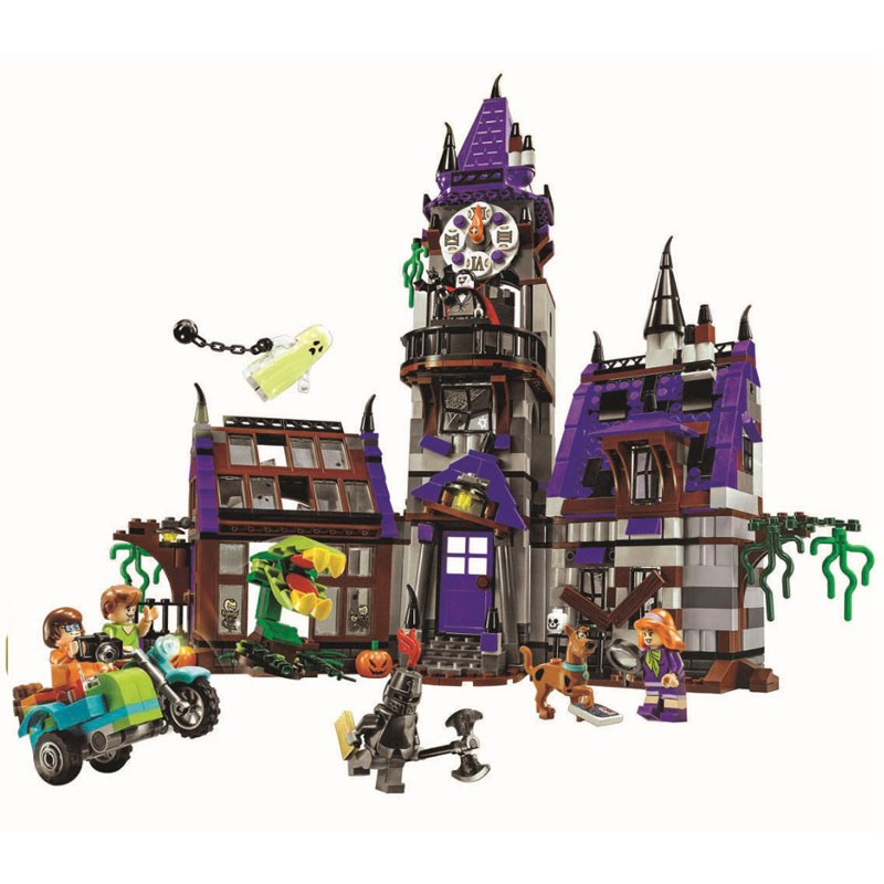 ФОТО scooby doo Mystery Mansion Building Blocks scoobydoo shaggy Velma vampire 3D Kids Toy Gifts Compatible with Legoe