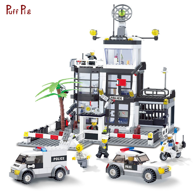 631pcs City Police Station Motorbike Police Truck Model Building Blocks Compatible Legoe City Bricks Educational Toys For Child 442pcs police station building blocks bricks educational helicopter toys compatible with legoe city birthday gift toy brinquedos