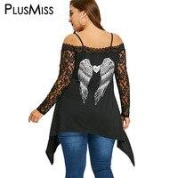 PlusMiss בתוספת גודל 5XL גרפי חולצות טוניקת הדפסת כנפי תחרה סרוגה נשים כבויה חולצות הכתף Mesh Sheer סקסי פאנק רוק חולצה