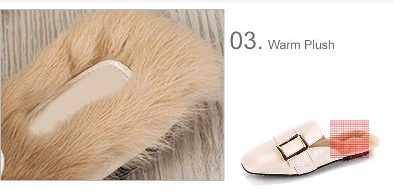 1850d4038 MCCKLE Women Leisure Warm Winter Flat Mules Slippers Female Faux Fur ...