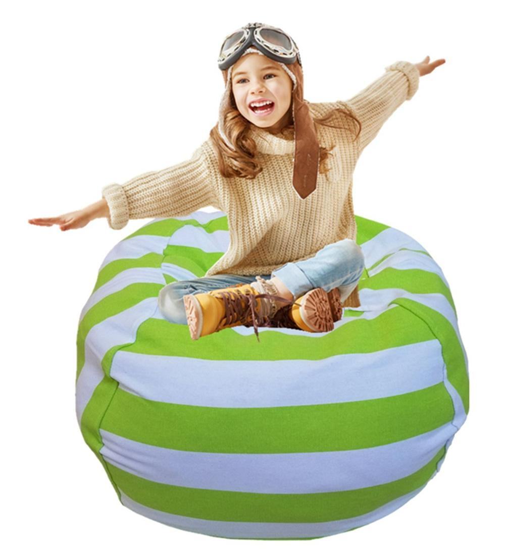 7 цветов набивная коробка животные Кресло-мешок, фасоль | Премиум детское плюшевое решение для хранения игрушек | доступно в 6 моделях - Цвет: 18inches Green