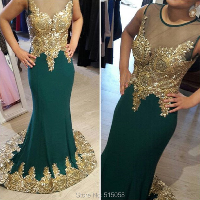 Gold Embroidery Crystal Beaded Long Emerald Green Prom Dresses