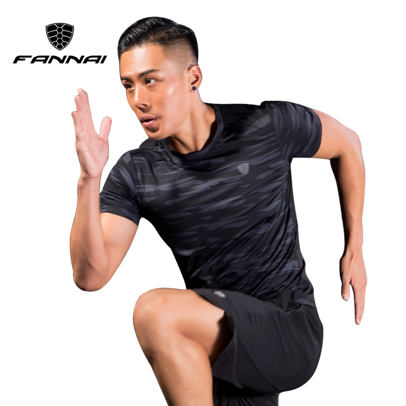 FANNAI Men Sport Running Shirts Camouflage Sportswear Men's Short Sleeve Fitness Gym Shirt Quick Dry Basketball Training T Shirt