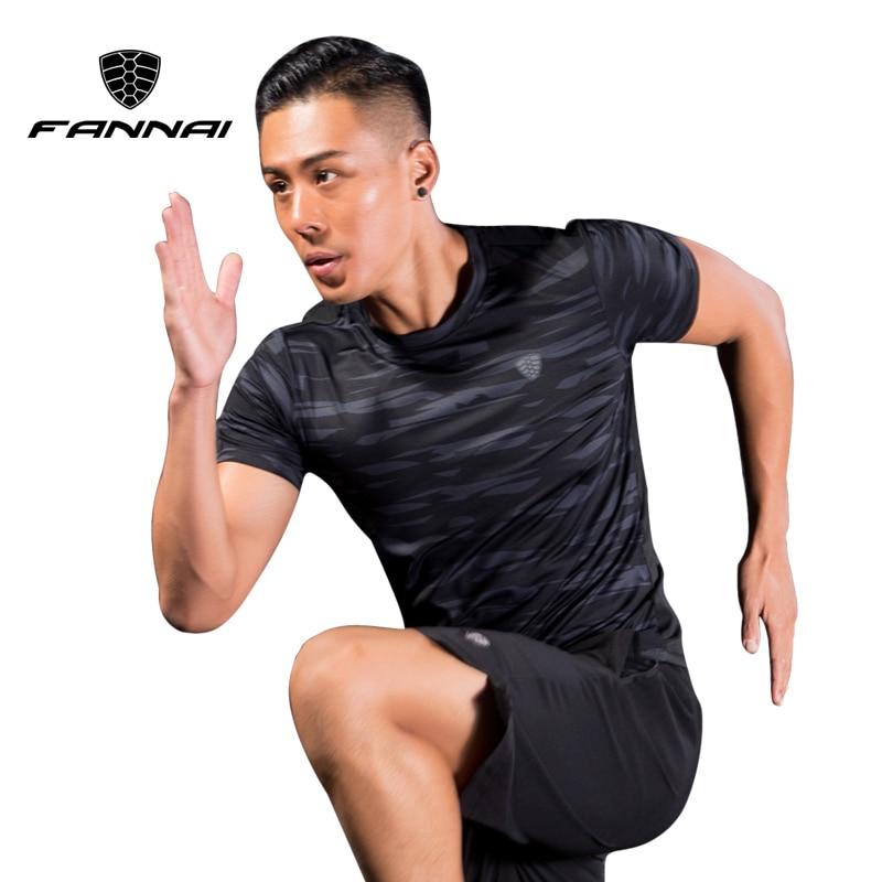 FANNAI Men Sport Running Shirts Camouflage Sportswear Men's Short Sleeve Fitness Gym Shirt Quick Dry Basketball Training T Shirt