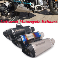 Motorcycle Akrapovic Exhaust Pipe Escape Universal Modified CNC 51mm Muffler DB Killer For Z900 TRK502 CBR500 KTM 390 ZX10R MT09