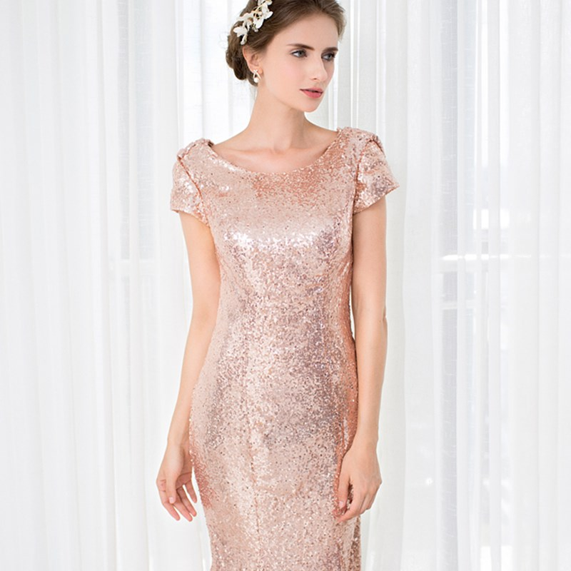ruthshen 2018 Rose Gold Sequin Mermaid Bridesmaid Dresses Short Sleeves  Backless Long Vestidos De Madrinha Cheap-in Bridesmaid Dresses from  Weddings ... 337ad5eadd03