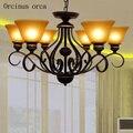 Американская старинная железная люстра  лампа для гостиной  спальни  Европейский классический дизайн  простая стеклянная люстра  бесплатна...